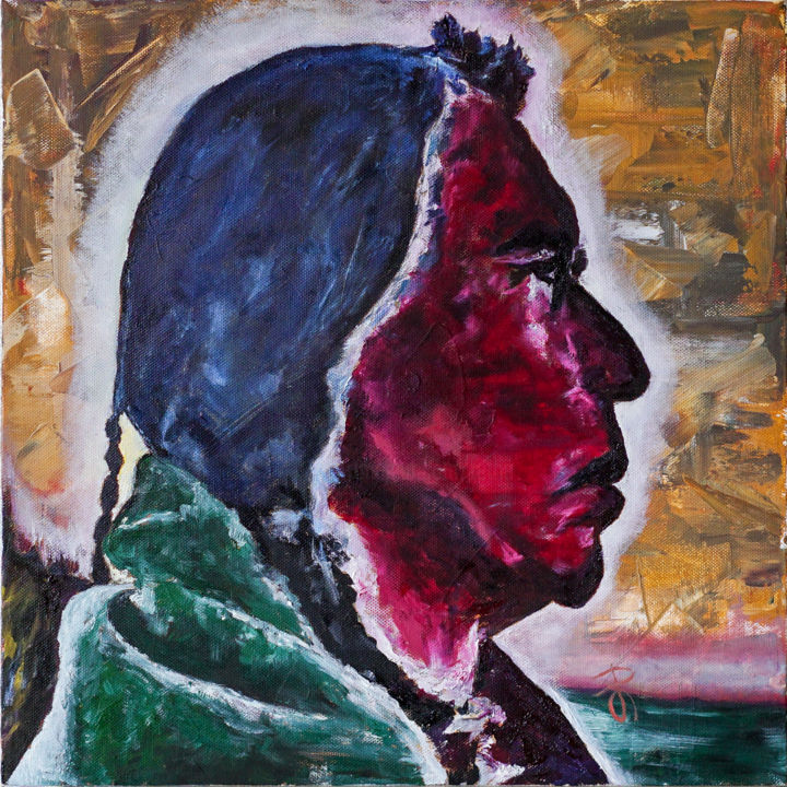 Portrait Of Native American. Oil on canvas. - Painting,  40x40x3.5 cm ©2018 by Retne -                                                                                                        Contemporary painting, Figurative Art, Impressionism, Modernism, Men, People, Portraits, native american portrait, red orange green blue, Portrait Of Native American, redman indian portrait, red orange green blue portrait, modern portrait, contemporary portrait, portrait oil on canvas, native american indian, Figurative painting portrait