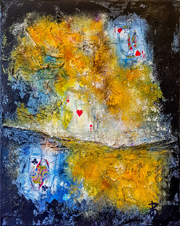 Abstract Textured Acrylic Painting. READY TO HANG. - © 2019 mixed media abstract, Orange blue painting, textured painting, abstract textured, black orange blue, ready to hang art, acrylic painting, playing cards painting, painting with playing cards, Abstract acrylic painting Online Artworks