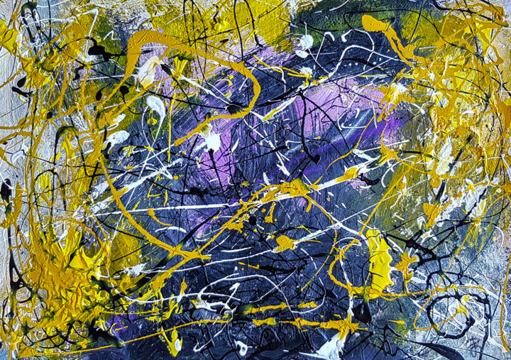 Mixed Media Abstract Painting On Unframed A3 Paper - Painting,  29.7x42x0.1 cm ©2019 by Retne -                                                                                Abstract Art, Abstract Expressionism, Contemporary painting, Expressionism, Abstract Art, abstract art by retne, Mixed Media Abstract, Abstract Painting, Modern abstract expressive, Violet Yellow Blue, abstract artwork, abstract expressionism, abstract yellow violet