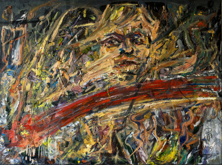 Heavy Texture Abstract Oil Painting On Canvas - Painting,  60x80x2 cm ©2019 by Retne -                                                                                                        Abstract Art, Abstract Expressionism, Contemporary painting, Expressionism, Abstract Art, Men, Portraits, textured painting, oil abstract art, oil abstract painting, modern abstract painting, layers texture, layered oil painting, layered abstract art, impasto thick texture, expresive painting, contemporary art, artwork by retne, abstract painting, abstract expressive painting, abstract expressionism, oil on linen canvas, Modern Abstract Expressionism