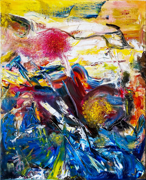 Colorful Abstract Expressive Oil Painting by Retne - Painting,  50x40x2 cm ©2018 by Retne -                                                                                                        Abstract Art, Abstract Expressionism, Contemporary painting, Expressionism, Abstract Art, Landscape, Seascape, Colorful Abstract Painting, Abstract Expressionism, abstract modern art, abstract oil painting, Modern abstract artwork, yellow orange blue red, contemporary art, abstract original painting, contemporary artwork, modern abstract painting, oil abstract painting