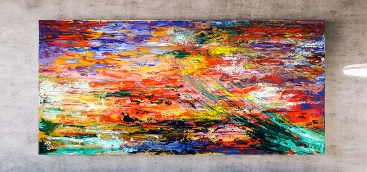 - Summer - Abstract Painting. - Painting,  50x100x1.5 cm ©2018 by Retne -                                                                                Abstract Art, Abstract Expressionism, Contemporary painting, Expressionism, Abstract Art, Contemporary ART, Abstract Painting, Modern Art, Abstract Wall Decor, abstract expressionism, abstract texture, acrylic oil on canvas, bold abstract art, colorful abstract art, mixed media abstract, modern abstract, texture abstract painting