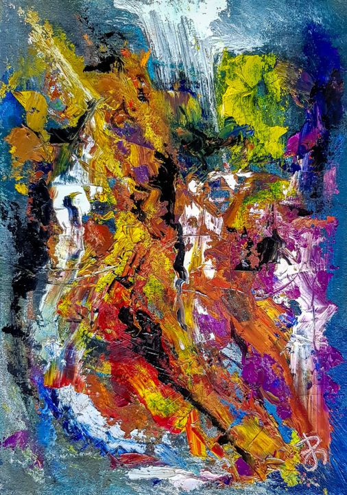 Abstract Oil Painting. Untitled Abstraction. - Painting,  29.7x21x0.2 cm ©2019 by Retne -                                                                    Abstract Art, Abstract Expressionism, Contemporary painting, Abstract Art, similar to willem de kooning, oil abstract, modern abstract painting, style of willem de kooning, expresive painting, contemporary art, abstract expressive painting, abstract expressionism, Rich textured painting