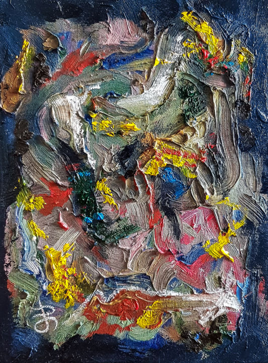 Abstract Textured Impasto Oil Painting. - Painting,  9.5x7.1x0.1 in ©2019 by Retne -                                                                                Abstract Art, Abstract Expressionism, Contemporary painting, Expressionism, Abstract Art, Rich textured impasto painting, Modern abstract, expressive artwork, abstract expressionism, artwork by retne, contemporary art, expresive painting, style of willem de kooning, modern abstract painting, similar to willem de kooning