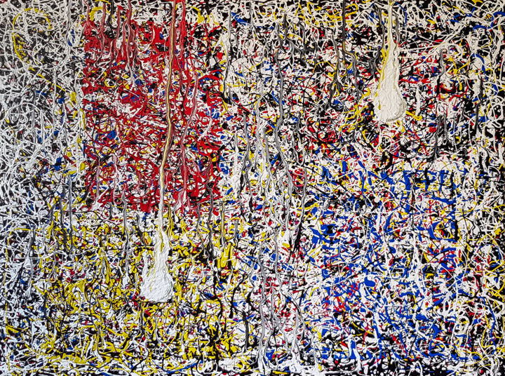 MAGIC LANTERNS - in the style of Jackson Pollock. - Painting,  23.6x31.5x0.6 in, ©2019 by Retne -                                                                                                                                                                                                                                                                                                                                                                                                                                                                                                                                                                                                                                                                                  Abstract, abstract-570, Abstract Art, similar to jackson pollock, the style of jackson pollock, jackson pollock style, postwar abstract painting, modern abstract, modern abstract painting, modern abstract art, jackson pollock, style abstract expressionism, contemporary painting, abstract expressionism