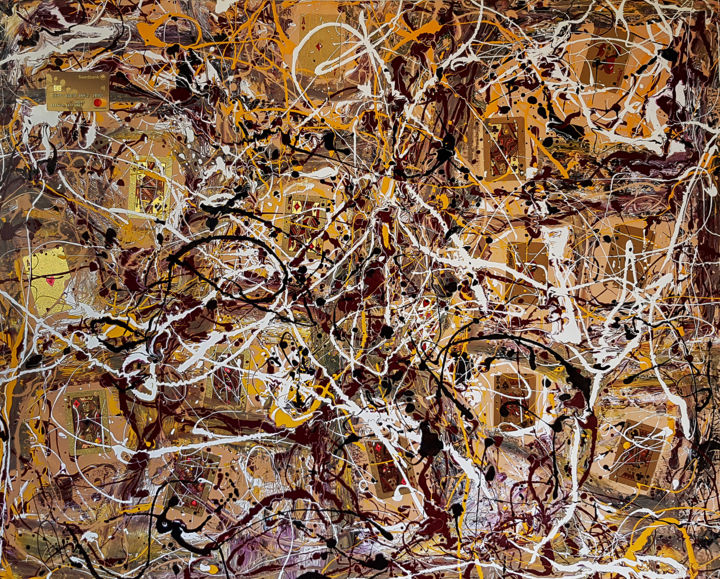 Abstract expressionism JACKSON POLLOCK style - Painting,  31.5x39.4x0.8 in, ©2019 by Retne -                                                                                                                                                                                                                                                                                                                                                                                                                                                                                                                                                                                                                                                                                  Abstract, abstract-570, Abstract Art, postwar abstract painting, modern painting, modern abstract, jackson pollock style, dripping painting, drip painting, abstract painting, contemporary painting, style of jackson pollock, similar to a jackson pollock, abstract expressionism