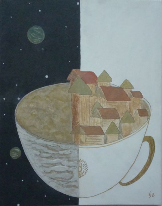 """Painting titled """"Cosmic Cup.jpg"""" by Reuben Ray, Original Art, Oil"""
