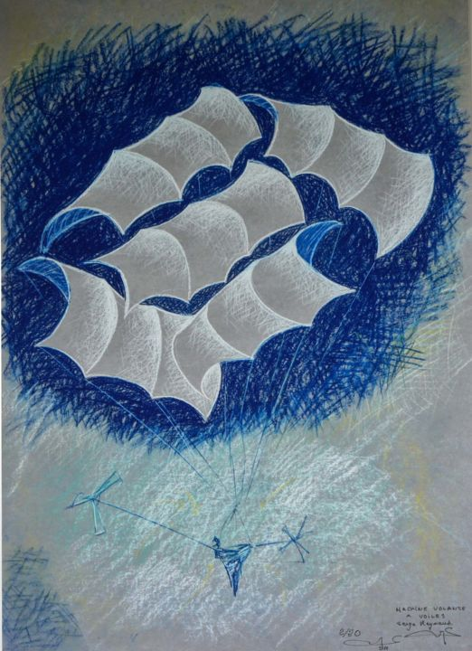 Machine volante à voile - Printmaking,  23.6x16.9 in, ©2020 by Art Of Flying -                                                                                                                                                                                                                                                                                                                                                                                                                                                      Figurative, figurative-594, Aerial, machinne volante, voile, nacelle, passage, hélice, flying machine