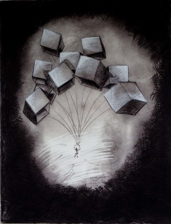 DESCENTE POLYCUBIQUE - Printmaking,  23.6x18.1 in, ©2020 by Art Of Flying -                                                                                                                                                                                                                                                                                                                  Figurative, figurative-594, Aerial, parchute, machine volante, flying machine