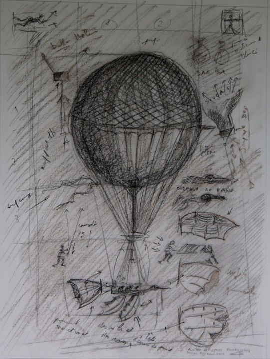 Esquisse recherche pour un ballon - Drawing,  15.8x11.8 in, ©2020 by Art Of Flying -                                                                                                                                                                                                                                                                                                                                                                                                          Figurative, figurative-594, Aerial, machine volante, ballon, rame, canard, vol