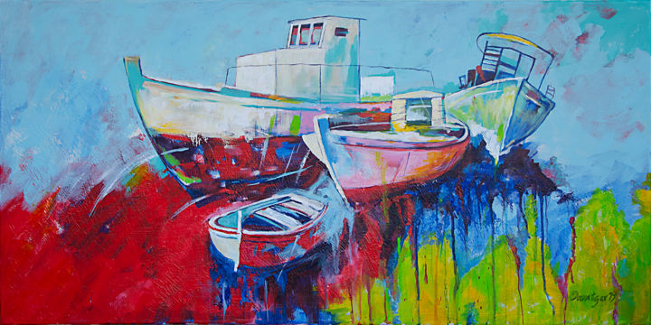 Boats - Painting,  19.7x39.4x1.6 in, ©2019 by Reza Davatgar -                                                                                                                                                                                                                                                                                                                                                                                                                                                      Impressionism, impressionism-603, Boat, Boot, Landschaft, landscape, Boat, Modern, Frabfroh