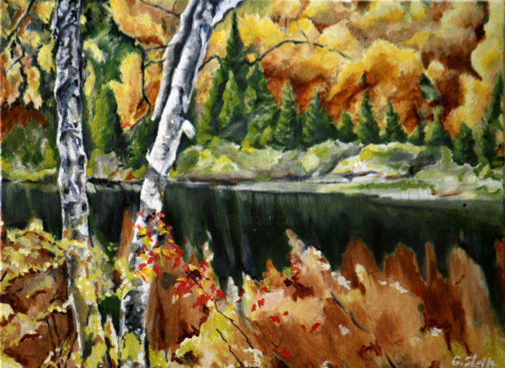 forest-lake.jpg - Painting,  12x24 in, ©2013 by rfmetro -                                                                                                                                                                                                                          Abstract, abstract-570, Family, rfmetro