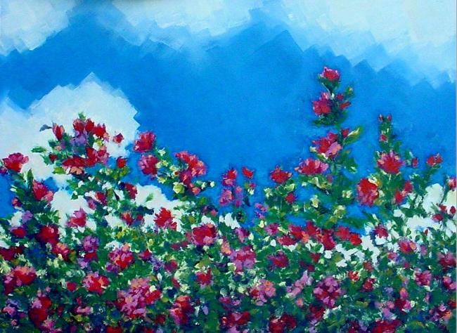Rose No. 7 - Painting,  18x24 in, ©2006 by Rebecca Grantham -                                                                                                                                                                                                                                                                                                                                                          Figurative, figurative-594, plein air, floral, flower, garden, painting