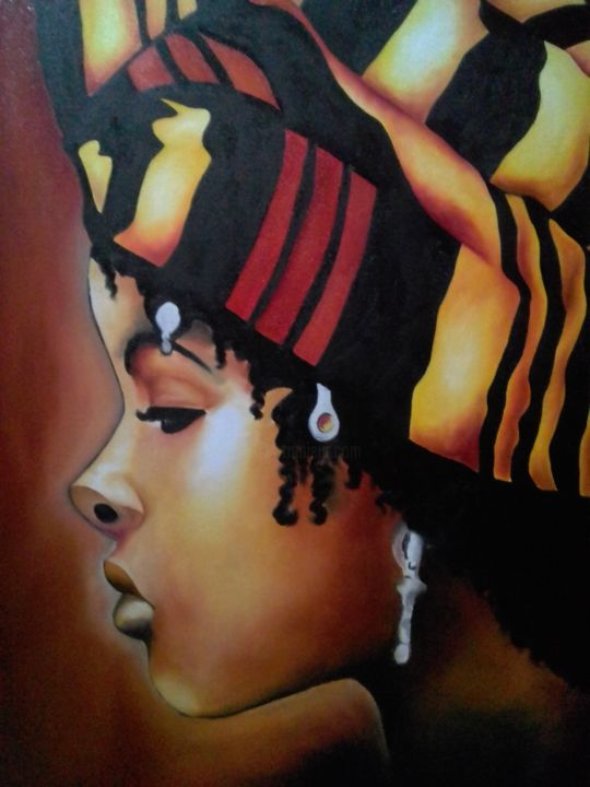 """Painting titled """"Mulher Negra"""" by Rhisia Souza, Original Art, Ink"""