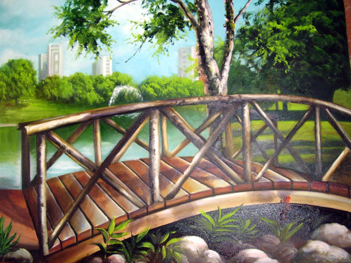 """Painting titled """"Parque Flamboyant"""" by Rhisia Souza, Original Art, Ink"""