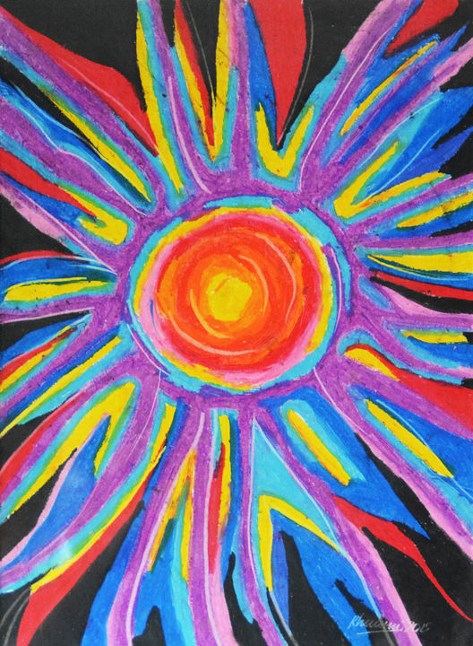 """Painting titled """"Colors of the Sun"""" by Rhuani Rambukwelle, Original Art, Pastel Mounted on Other rigid panel"""