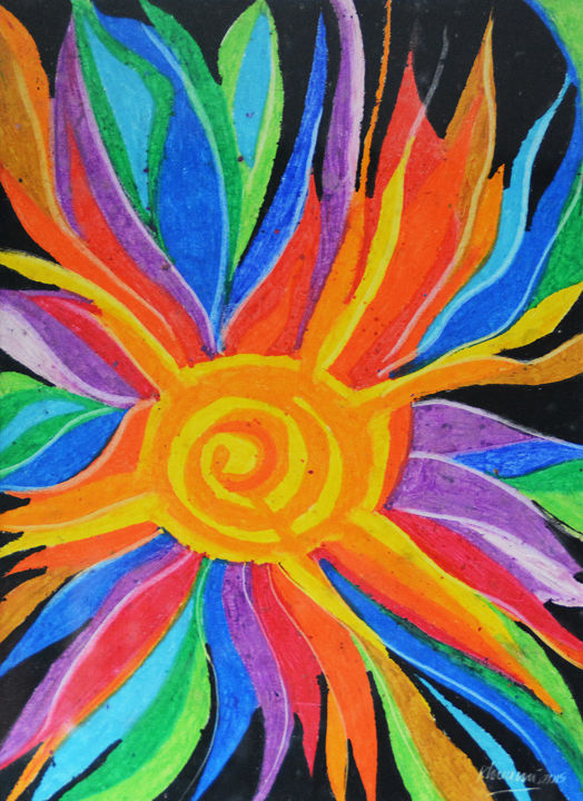 """Painting titled """"Dew Drops in the Sun"""" by Rhuani Rambukwelle, Original Art, Pastel Mounted on Other rigid panel"""
