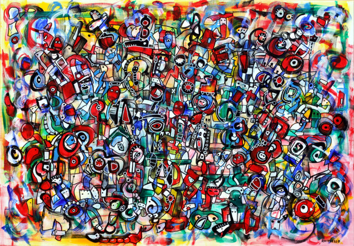 """Painting titled """"Micro universe of j…"""" by Riccardo Vitiello, Original Art, Acrylic Mounted on Stretcher frame"""