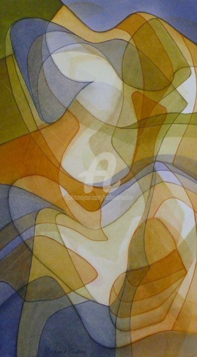 Abstration 03-20 - Painting,  18.3x10.2 in, ©2020 by Richard Aubin -                                                                                                                          Abstract, abstract-570
