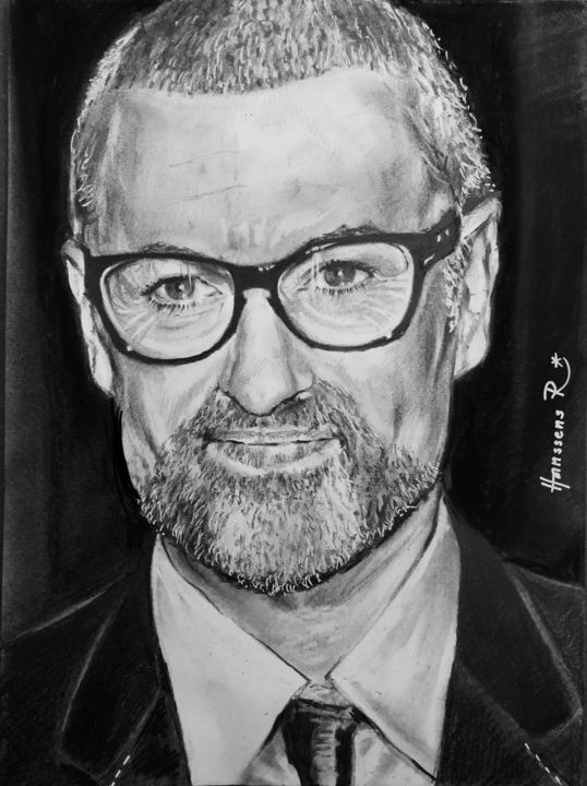 """Drawing titled """"George Michael"""" by Richard Hanssens, Original Art, Charcoal"""