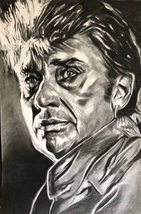 """Drawing titled """"Johnny Hallyday (2)"""" by Richard Hanssens, Original Art, Charcoal"""