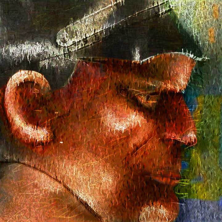 Copper - Digital Arts,  12x12 in ©2015 by Richard Dodds -                                        Paper, Men