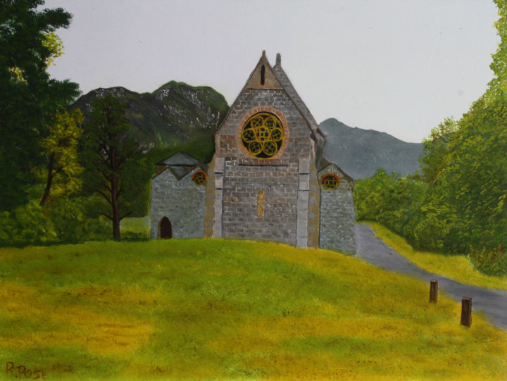 Glenn Finnan Church - Painting,  11.8x15.8x0.3 in, ©2018 by Richard Post -                                                                                                                                                                                                                      Hyperrealism, hyperrealism-612, Architecture, Mountainscape