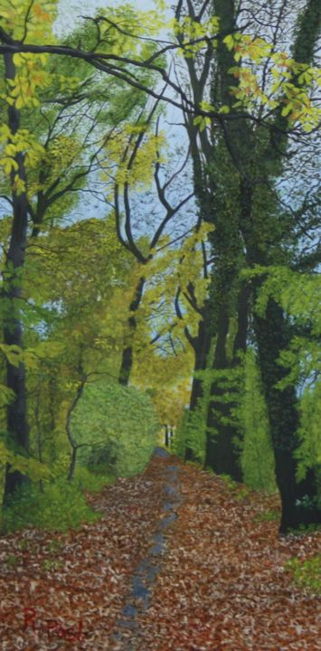 A walk through the Forest - Painting,  15.8x7.9x0.3 in, ©2020 by Richard Post -                                                                                                                                                                                                                                                                                                                                                                                                                                                      Hyperrealism, hyperrealism-612, Nature, forest, trees, bospad, bomen, herfst, autumn