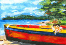 SALE Key West Beach Boat, Original oil painting - Painting,  1.6x2.4 in, ©2007 by Riche Robertson -                                                                                                                                                                                                                      Figurative, figurative-594, Boat on Key West Beach, Riche Art Studio