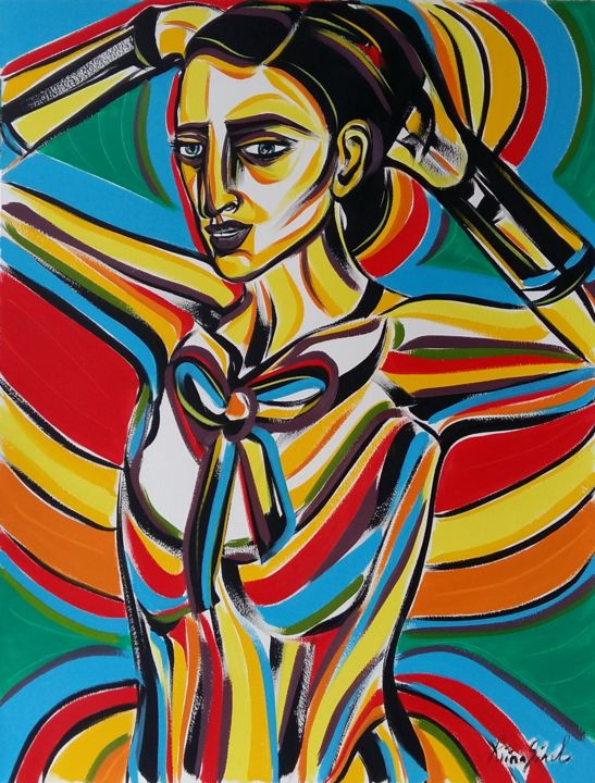 15-2018 - Painting,  65x50 cm ©2018 by Riina Sirel -                                                                                                                    Figurative Art, Expressionism, Contemporary painting, Paper, Body, Colors, Women, Fashion