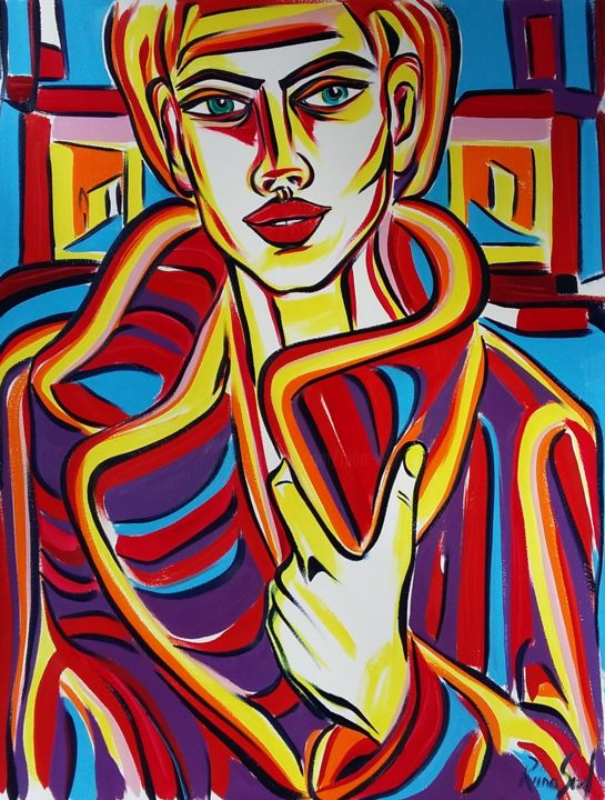20-2018 - Painting,  65x50 cm ©2018 by Riina Sirel -                                                                                                                    Figurative Art, Expressionism, Contemporary painting, Paper, Body, Colors, Women, Fashion