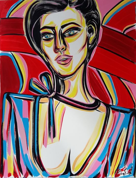25-2018 - Painting,  65x50 cm ©2018 by Riina Sirel -                                                                                                                                Figurative Art, Expressionism, Contemporary painting, Paper, Body, Colors, Women, Fashion, Portraits