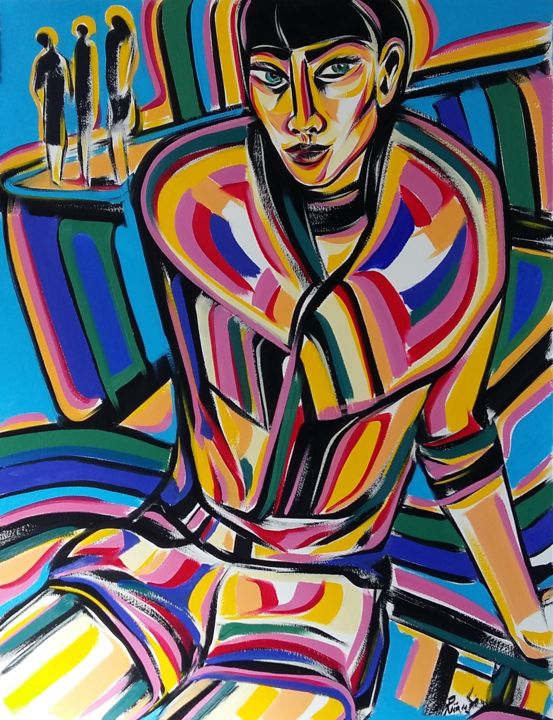 30-2018 - Painting,  65x50 cm ©2018 by Riina Sirel -                                                                                                                                Figurative Art, Expressionism, Contemporary painting, Paper, Body, Colors, Women, Fashion, People
