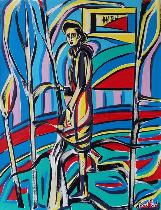 36-2018 - Painting,  65x50 cm ©2018 by Riina Sirel -                                                                                                                                Figurative Art, Expressionism, Contemporary painting, Paper, Tree, Body, Colors, Women, Fashion
