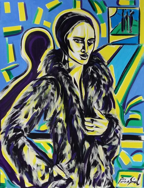 40-2018 - Painting,  25.6x19.7 in, ©2018 by Riina Sirel -                                                                                                                                                                                                                                                                                                                                                          Figurative, figurative-594, Abstract Art, Body, Colors, Women, Fashion
