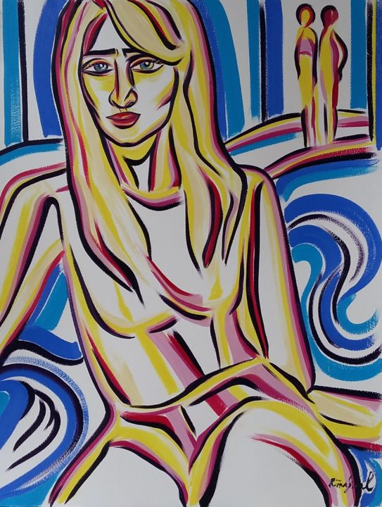 45-2018 - Painting,  65x50 cm ©2018 by Riina Sirel -                                                                                                                                Figurative Art, Expressionism, Contemporary painting, Paper, Abstract Art, Body, Colors, Women, Fashion