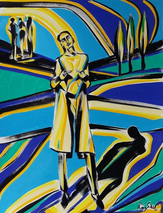 50-2018 - Painting,  25.6x19.7 in, ©2018 by Riina Sirel -                                                                                                                                                                                                                                                                                                                                                          Expressionism, expressionism-591, Body, Colors, Fashion, Garden, Light