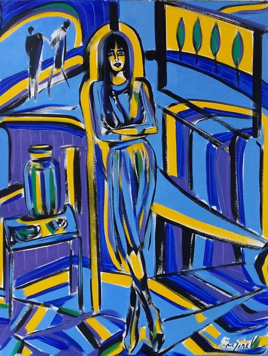 58-2018 - Painting,  25.6x19.7 in, ©2018 by Riina Sirel -                                                                                                                                                                                                                                                                                                                                                          Expressionism, expressionism-591, Body, Colors, Fashion, Garden, Home