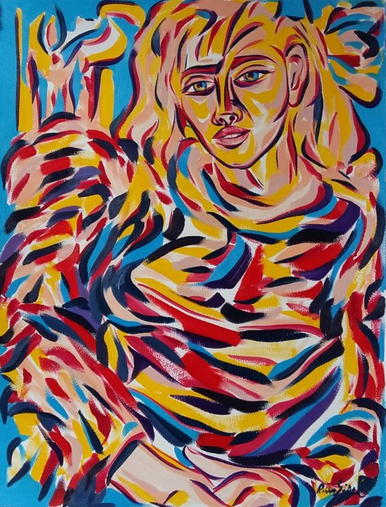 59-2018 - Painting,  25.6x19.7 in, ©2018 by Riina Sirel -                                                                                                                                                                                                                                                                                                              Expressionism, expressionism-591, Colors, Fashion, Light, Women