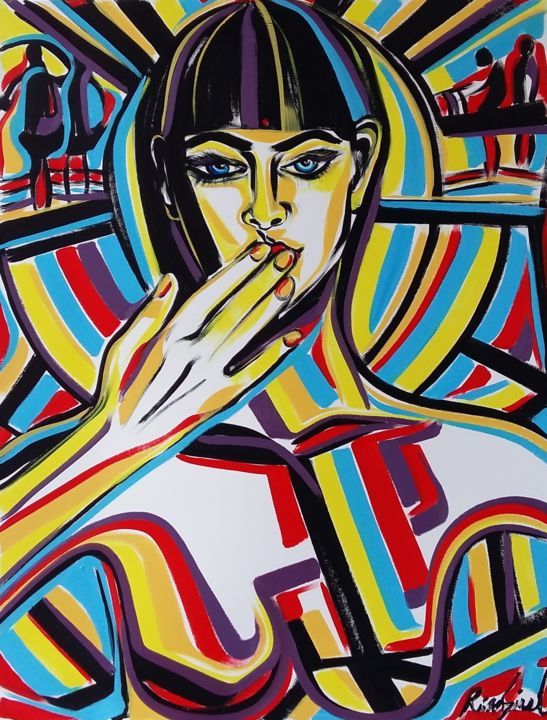 Happy New Year 2020! - Painting,  25.6x19.7 in, ©2018 by Riina Sirel -                                                                                                                                                                                                                                                                                                              Expressionism, expressionism-591, artwork_cat.Colors, Fashion, People, Women
