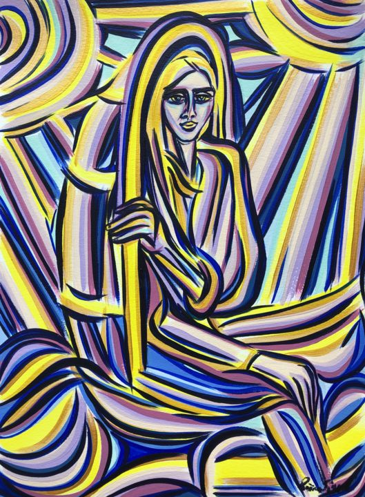 Protected - Painting,  16.5x11.7 in, ©2020 by Riina Sirel -                                                                                                                                                                                                                                                                                                              Expressionism, expressionism-591, Colors, Light, Nature, Women