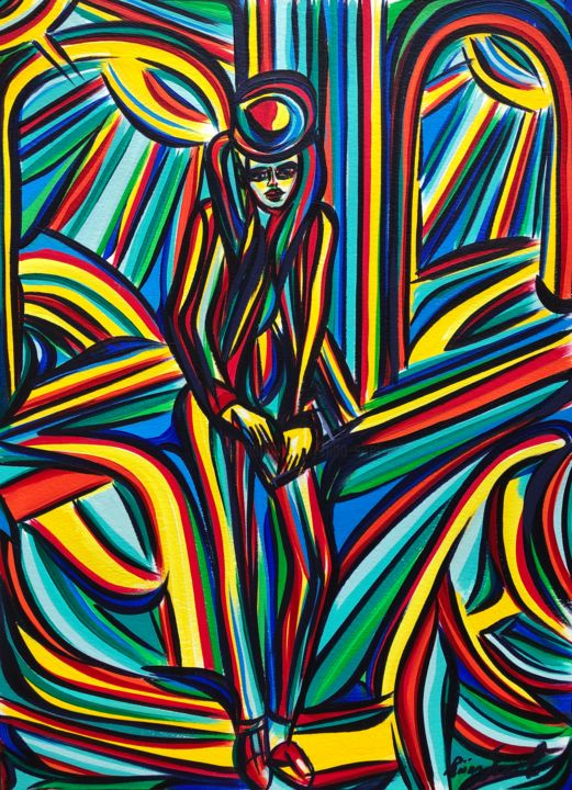 Overload - Painting,  16.5x11.7 in, ©2020 by Riina Sirel -                                                                                                                                                                                                                                                                                                                                                          Expressionism, expressionism-591, Body, Colors, Fashion, Nature, Women