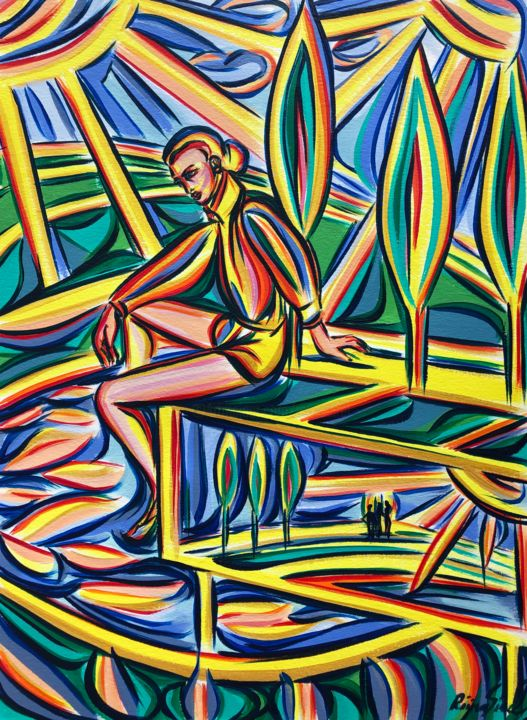 Harmony - Painting,  16.5x11.7 in, ©2020 by Riina Sirel -                                                                                                                                                                                                                                                                                                                                                          Expressionism, expressionism-591, Colors, Fashion, Nature, Tree, Water