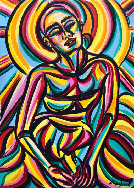 Dreaming - Painting,  16.5x11.7 in, ©2020 by Riina Sirel -                                                                                                                                                                                                                                                                                                                                                          Expressionism, expressionism-591, Colors, Fashion, Light, Nature, Women