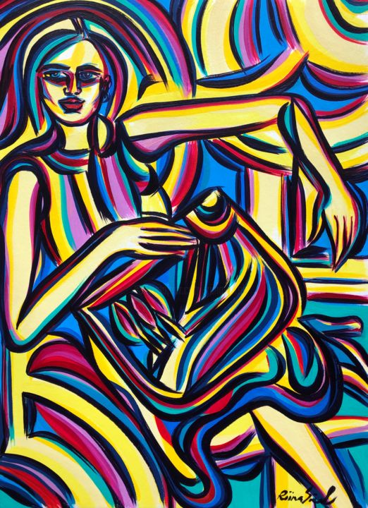 Waiting room - Painting,  16.5x11.7 in, ©2020 by Riina Sirel -                                                                                                                                                                                                                                                                                                                                                          Expressionism, expressionism-591, Colors, Fashion, Light, Nature, Women