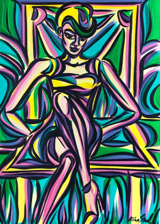 Thursday - Painting,  16.5x11.7 in, ©2020 by Riina Sirel -                                                                                                                                                                                                                                                                                                                                                          Expressionism, expressionism-591, Body, Colors, Fashion, Nature, Women