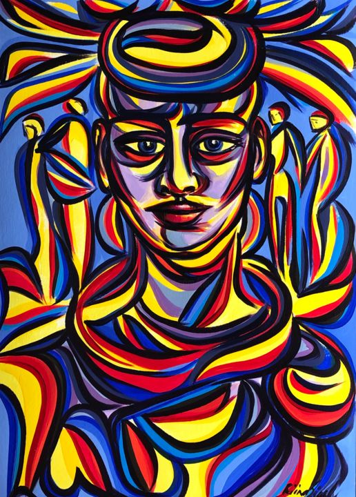 Friday - Painting,  16.5x11.7 in, ©2020 by Riina Sirel -                                                                                                                                                                                                                                                                                                                                                          Expressionism, expressionism-591, Colors, Fashion, Nature, People, Women
