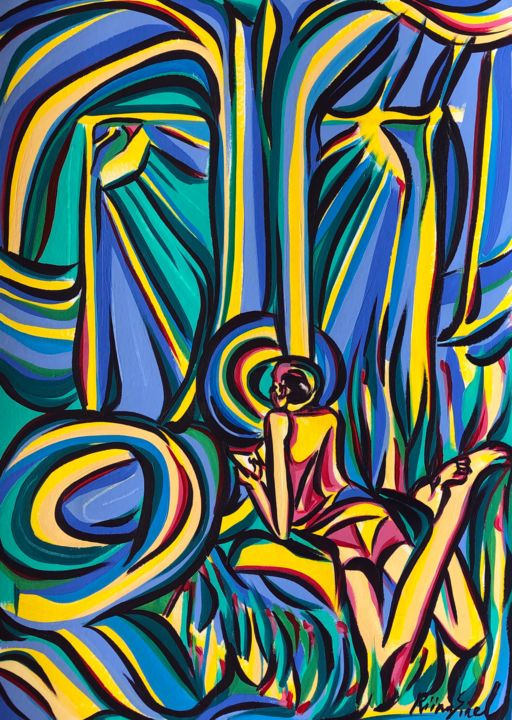 Monday mood - Painting,  16.5x11.7 in, ©2020 by Riina Sirel -                                                                                                                                                                                                                                                                                                                                                          Expressionism, expressionism-591, Body, Colors, Fashion, Light, Nature