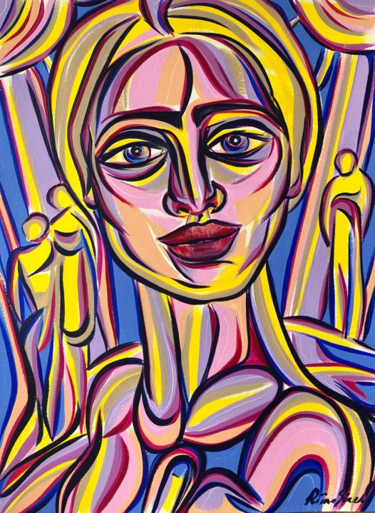 Friday mood - Painting,  15.9x11.7 in, ©2020 by Riina Sirel -                                                                                                                                                                                                                                                                                                                                                          Expressionism, expressionism-591, Colors, Fashion, Light, Portraits, Women