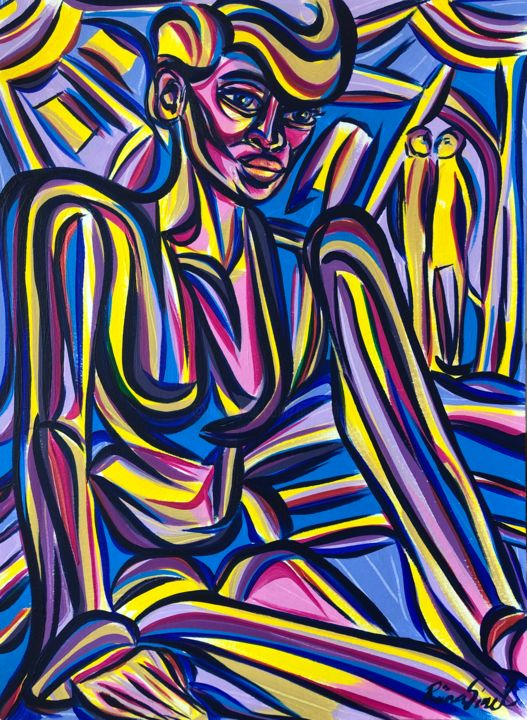 Monday... - Painting,  15.9x11.7 in, ©2020 by Riina Sirel -                                                                                                                                                                                                                                                                                                                                                          Expressionism, expressionism-591, Body, Colors, Fashion, Light, Women